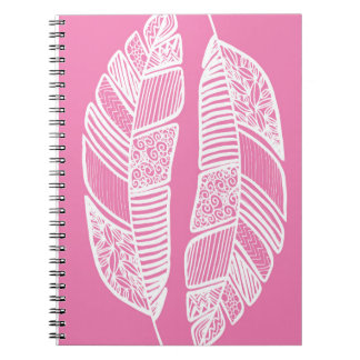 Pink Feather Doodle Duo Notebook