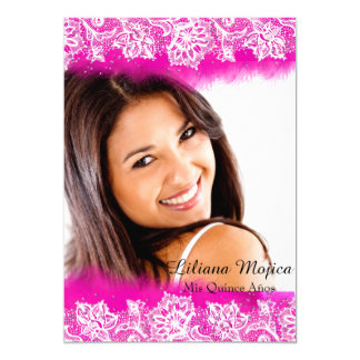 """Pink Feather Jewels Quinceanera Invite 5"""" X 7"""" Invitation Card"""