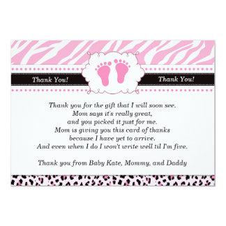Pink Feet Leopard Cheetah Thank You Card 13 Cm X 18 Cm Invitation Card