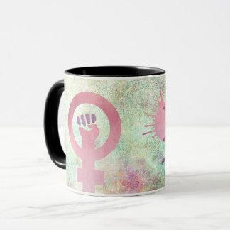 Pink Feminist Symbol on Grunge Texture Resist Mug