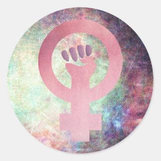 Pink Feminist Symbol on Multi-color Grunge Texture Classic Round Sticker