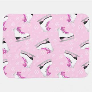 Pink Figure Skating Pattern Baby Blanket