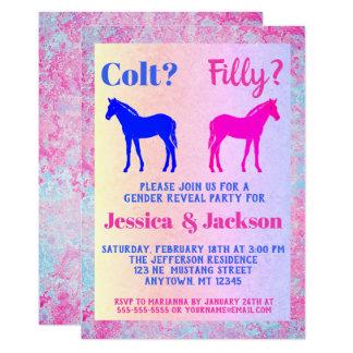 Pink Filly & Blue Colt Western Style Gender Reveal Card