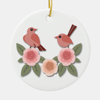 Pink Finches on Pink Peonies Ceramic Ornament