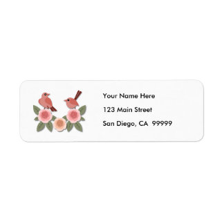 Pink Finches on Pink Peonies Return Address Label