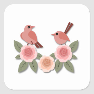 Pink Finches on Pink Peonies Square Sticker