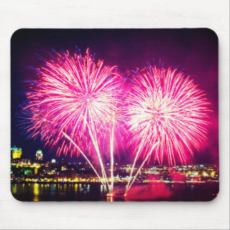 Pink Fireworks Mouse Pad