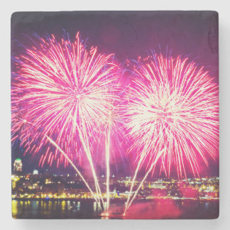 Pink Fireworks Stone Coaster