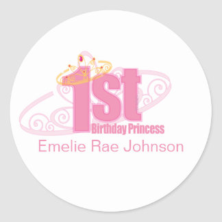 pink first BIRTHDAY PRINCESS party sticker
