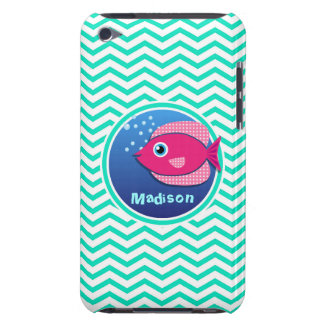 Pink Fish Aqua Green Chevron iPod Touch Cover