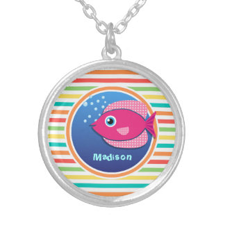 Pink Fish Bright Rainbow Stripes Personalized Necklace