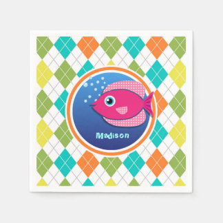 Pink Fish on Colorful Argyle Pattern Disposable Napkin
