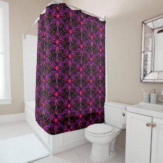 Pink Fishhooks and Purple Fish Pattern Shower Curtain