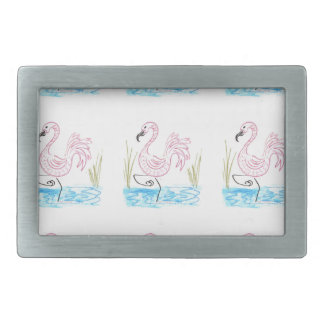 Pink Flamingo #13 by EelKat Wendy C Allen Rectangular Belt Buckle