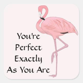 Pink Flamingo Acceptance Affirmation Square Sticker