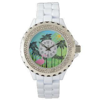 pink flamingo and palms rhinestone watch