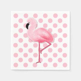 Pink Flamingo and Polka Dot Napkins Paper Napkin