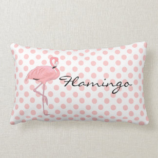 Pink Flamingo and Polka Dots Throw Pillow