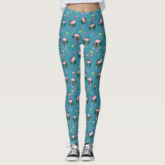 Pink Flamingo Art Deco Ferns Pattern Birds Blue Leggings