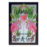 Pink Flamingo Bar & Grill Beach Poster Watercolor