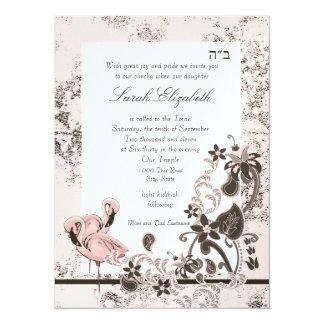 Pink Flamingo Bat Mitzvah 14 Cm X 19 Cm Invitation Card