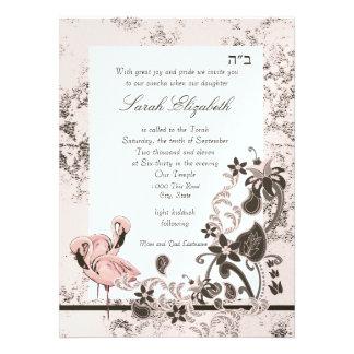 Pink Flamingo Bat Mitzvah Invitations