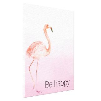 Pink Flamingo Be Happy Canvas Print