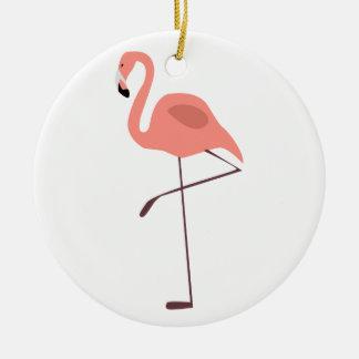 Pink Flamingo Bird Illustration Christmas Ornaments