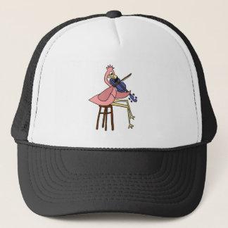 Pink Flamingo Bird Playing Violin Trucker Hat
