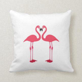 Pink flamingo-birds-love-heart Cushion