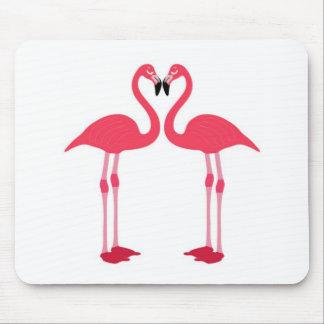 Pink flamingo-birds-love-heart mousepads