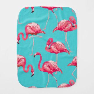 Pink flamingo birds on turquoise background burp cloth