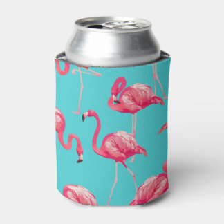 Pink flamingo birds on turquoise background can cooler