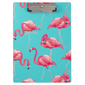 Pink flamingo birds on turquoise background clipboard