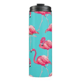 Pink flamingo birds on turquoise background thermal tumbler
