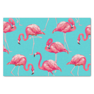Pink flamingo birds on turquoise background tissue paper