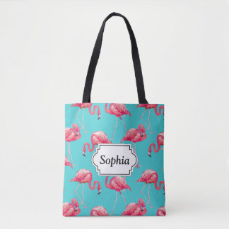 Pink flamingo birds on turquoise background tote bag