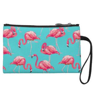Pink flamingo birds on turquoise background wristlet
