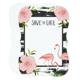 Pink Flamingo Black and White Stripe Save Date Card