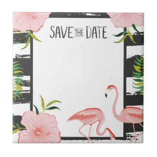 Pink Flamingo Black and White Stripe Save Date Ceramic Tile