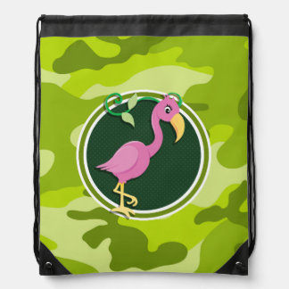 Pink Flamingo; bright green camo, camouflage Drawstring Bag