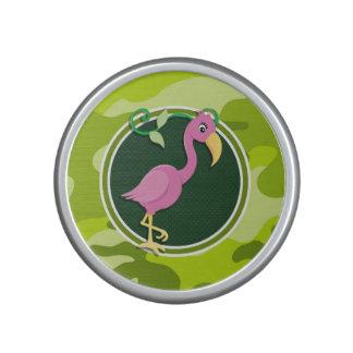 Pink Flamingo bright green camo camouflage Speaker