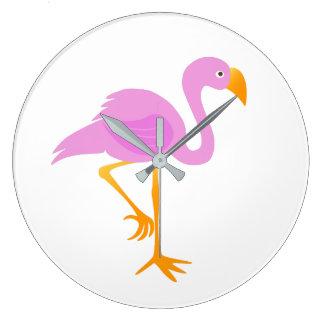 Pink Flamingo Cartoon Wall Clocks