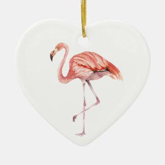 Pink Flamingo Ceramic Ornament
