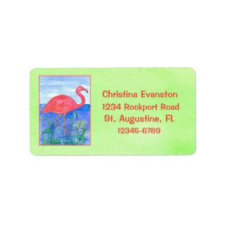 Pink Flamingo Chartreuse Green Address Label