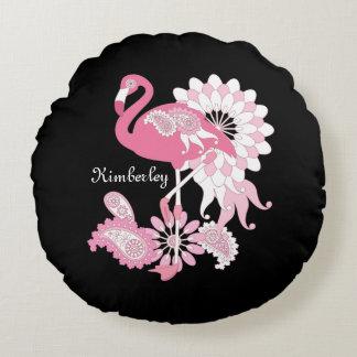 Pink Flamingo Cute Elegant Personalised Black Round Cushion