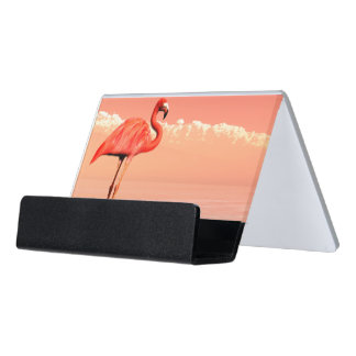 Pink flamingo desk business card holder