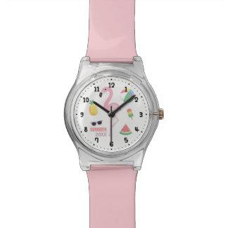 Pink Flamingo Enjoy Summer Girls Watch