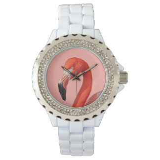 Pink Flamingo Face Woman's Watch