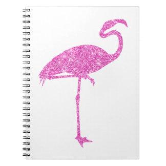 Pink Flamingo Faux Glitter Flamingos Tropical Bird Notebook